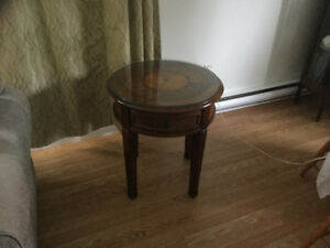 End tables with additional glass tops