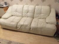 Cream Leather Sofa Suite