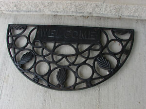 "OLD Cast Iron Door Mat 27"" x 14"" x 1"" WELCOME"