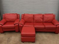 Red 3-1 and foot stool leather sofa
