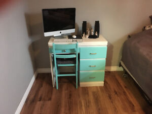 (Sold) Sweet turquoise and white desk for a bedroom