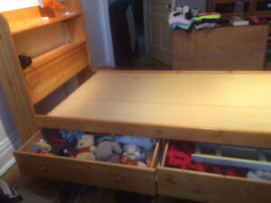 Solid pine single bed frame with storage drawers beneath