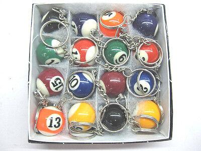 "16pcs Lot Pool Billiard Keyring Ball Keychain Key ring 1"" 25mm USA Seller"