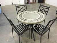 Garden granite table with 4 metal chairs