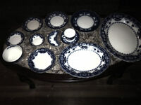Early 1900's Myott Son & Co. Crumlin Flow Blue Dinner Ware