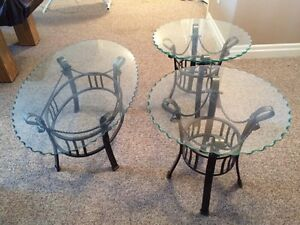Glass and rod iron tables