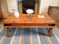 Large rustic solid wood coffee table