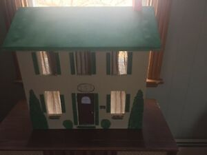 Hand-crafted, all-wood doll house w/ furniture