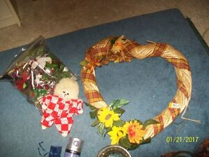 Heart Wreath plus ceramic doll and bag of decorations $5.00