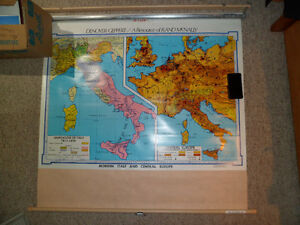 Roll Down Wall Map (Italy and Central Europe) Kitchener / Waterloo Kitchener Area image 1