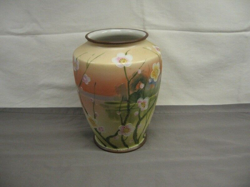 "Nippon Hand-Painted Vase Beautiful Floral Scene 7 1/2"" Height VGC"