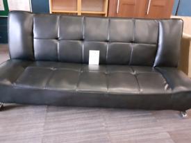Black fuax leather clickdrop sofa bed