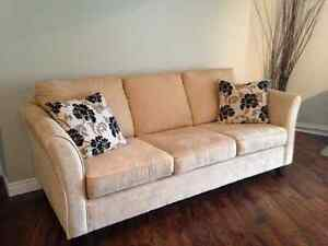 Microfibre couch and 2 chair sofa set. Carpet also available!