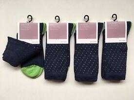 John Lewis Women's Socks Comfort Toe Made in Italy Navy/Lime 4Pk 8 Pair UK 4-8 RRP £40 Soft! Genuine