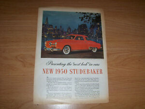 NEW 1950 STUDEBAKER-VINTAGE FULL PAGE ADVERTISEMENT-RARE!