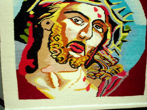 CROWN of THORNS Jesus HAND LOOM WOVEN TEXTILE wall hanging Cambridge Kitchener Area image 3