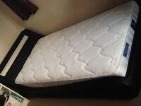 Leather single LED light up bed frame