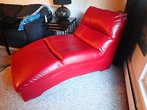 Red Leather Chaise Lounge from Ashley