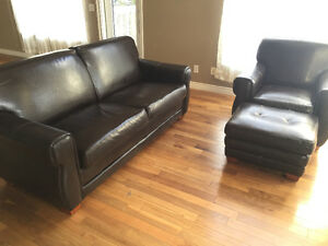 Black leather couch, chair and ottoman
