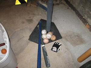 tball stand, two bats, 5 balls, batting glove