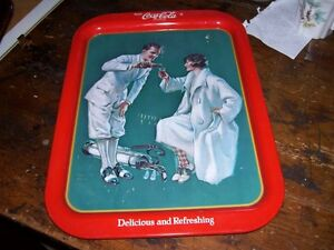 Men Woman Playing Golf Drink Coca Cola Tray