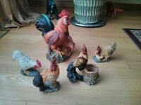 Rooster and Hen Figurines
