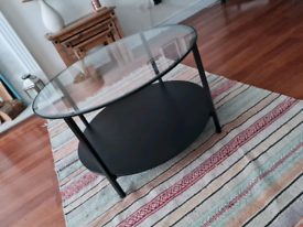 URGENT Black coffee table with glass top BEST OFFER