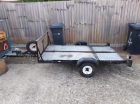Twin motorcycle trailer / flatbed trailer