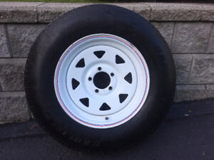 New RADIAL Trailer Tire on Steel Rim 5 Bolt, ST205/75R15, 4 Ply