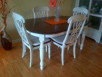 Table with 4 chairs & Hutch with glass doors