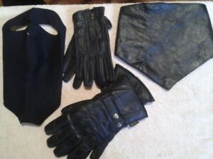 leather gloves, neckwarmer, facemask, open road cap
