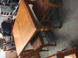 Solid pine table with 6 chairs