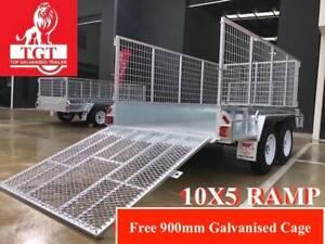 10x5 TANDEM TRAILER RAMP HEAVY DUTY GALVANISED 900mm CAGE 2000 KG