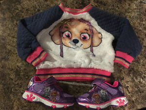 Paw patrol sneakers size 6, and Skye sweater brand new.