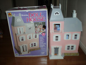Victorian Doll House Play Set with Furniture and Dolls