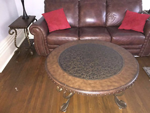 Round Coffee Table - Wood and Steel Legs $180
