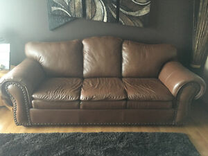 2 Piece Chocolate Brown Leather