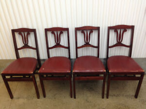 Chairs (4) Wood/Leather - Folding - Vintage