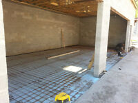 Concrete pads, floors and footings