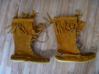 Leather boot style moccasins for sale - size 11 men's