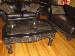 AHSHLEY LEATHER LOUNGE/LOVE SEAT/MARBLE COFFEE TABLE