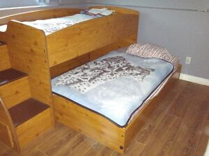 Loft over Trundle Bed with Chest of Drawers