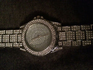 Chrome watch with crystals