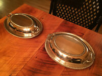 Antique silver plated covered serving dishes