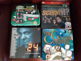 3 Dvd board games,1 Texas hold' EM Poker set.