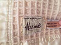 Harrods Pure Merino Wool cream double blanket/throw