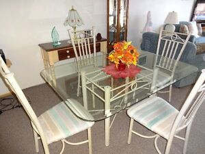 Glass Dining Table & Four Metal Chairs Sarnia Sarnia Area image 1