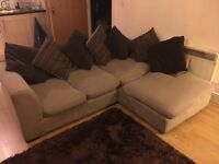 L-shaped Cream and Brown Corner Sofa