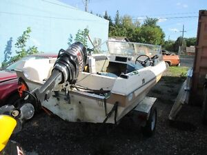 1975 marlin glass craft boat and trailer---50 hp