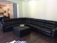 6-7 person black leather sectional couch
